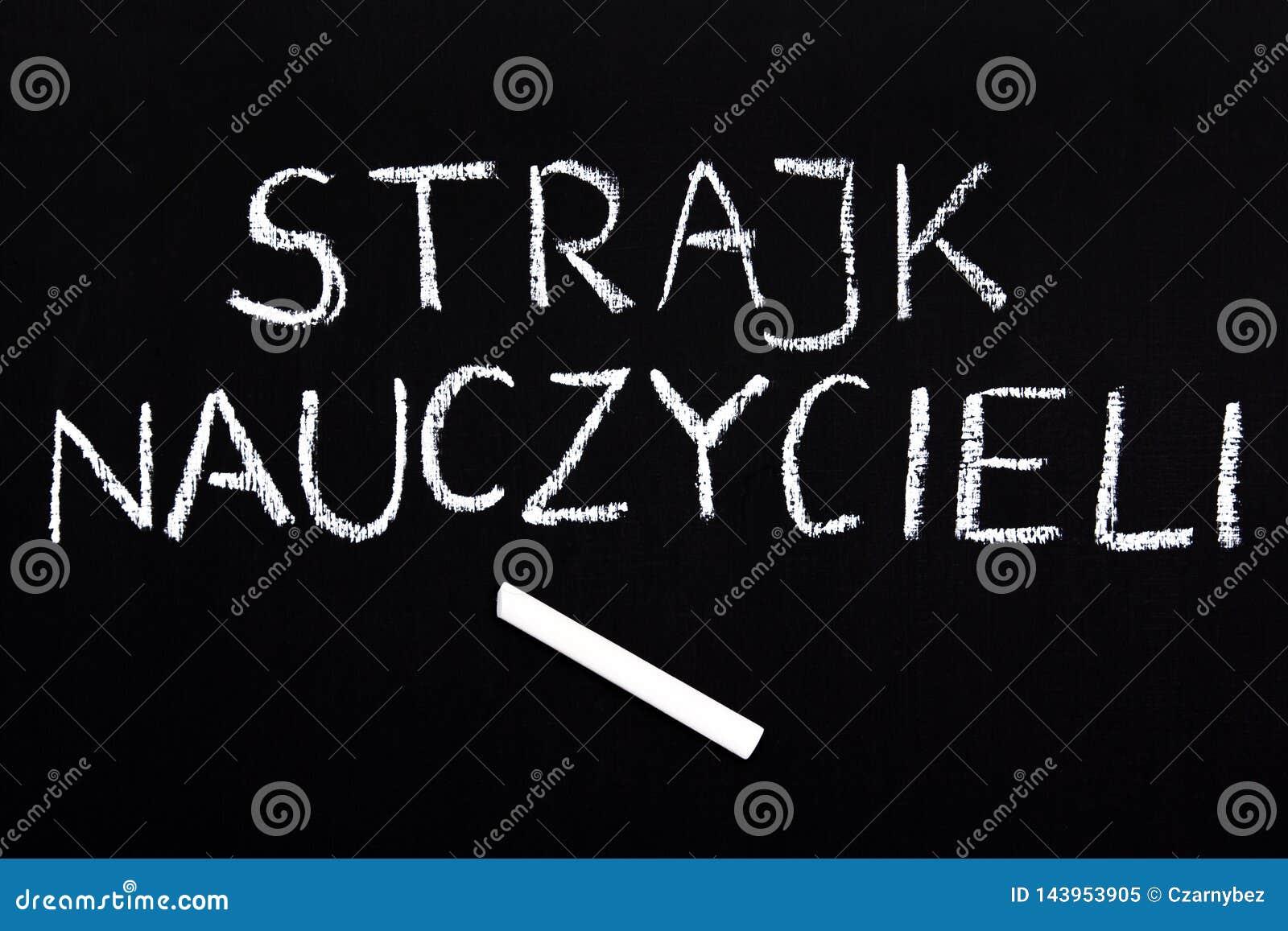Polish word TEACHERS STRIKE on a chalkboard