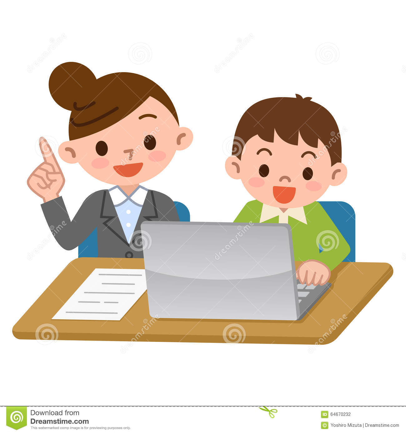 teachers and students of computer learning stock vector Teacher Clip Art Teacher Teaching Clip Art