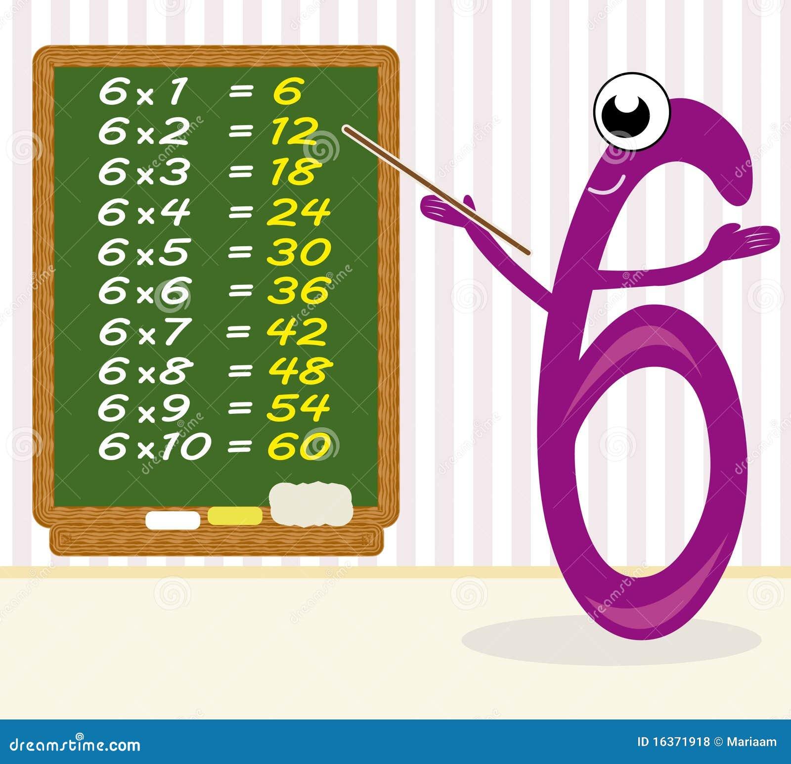 Teaching multiplication number 6 stock illustration for Multiplication 6