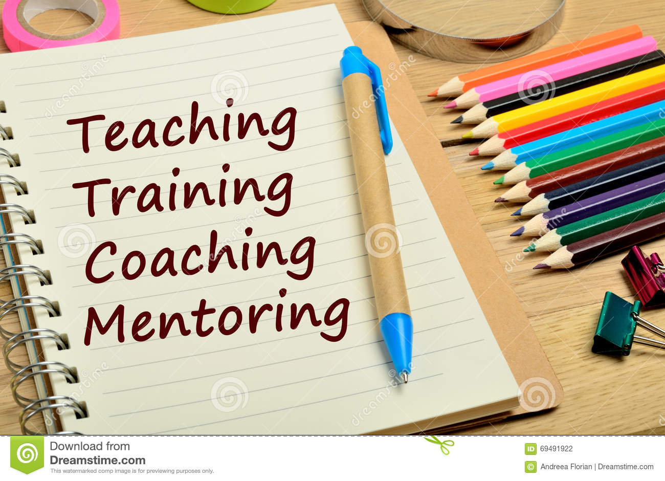 Teaching Training Coaching Mentoring words