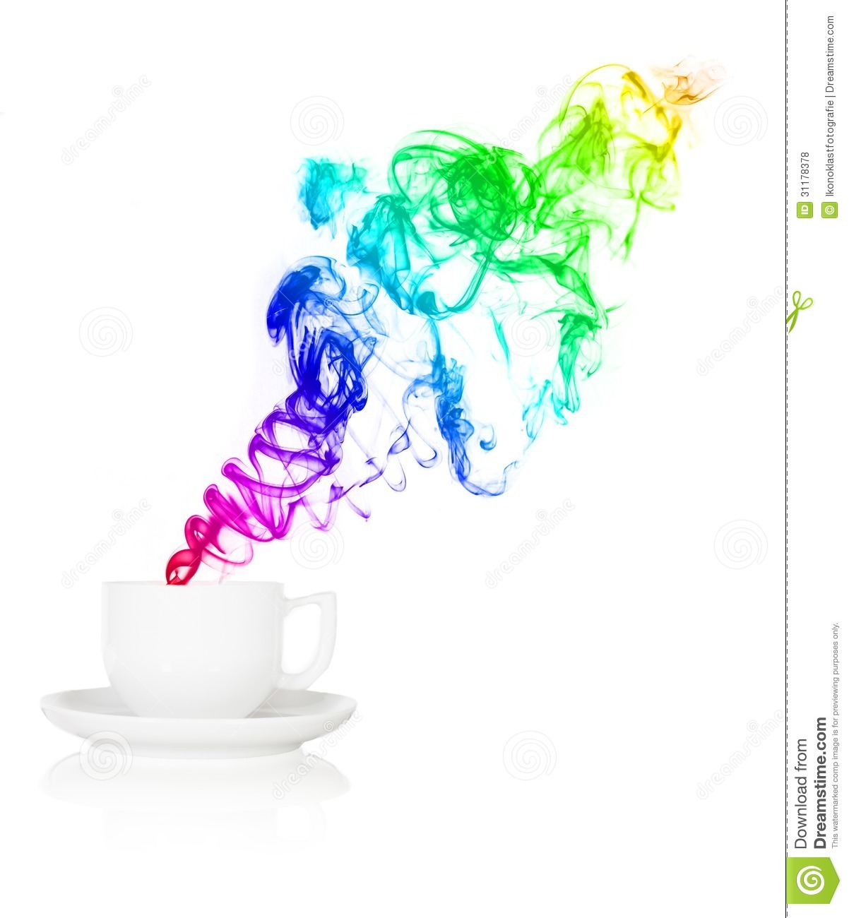 Teacup With Colorful Smoke In Front Of White Background Royalty Free