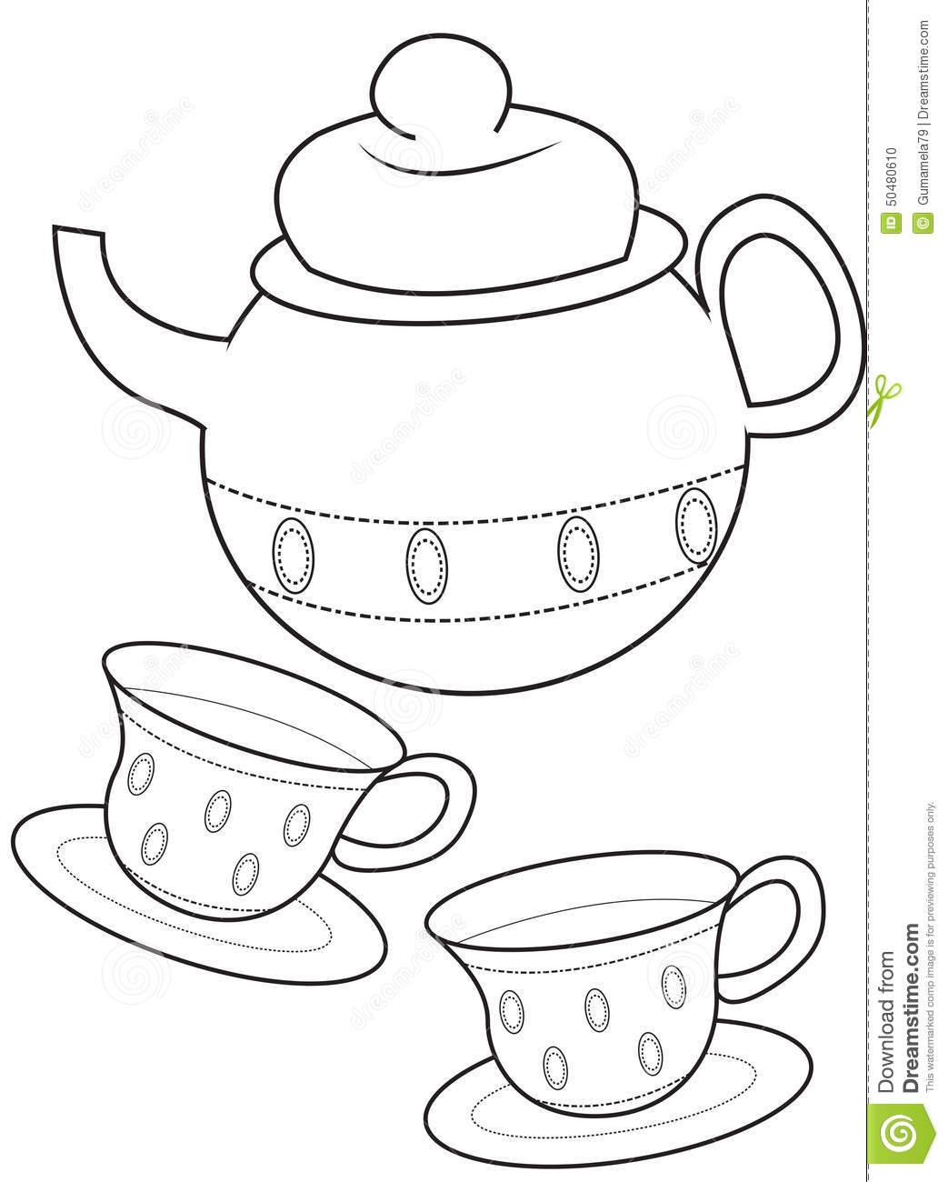 for Free printable tea cup coloring pages