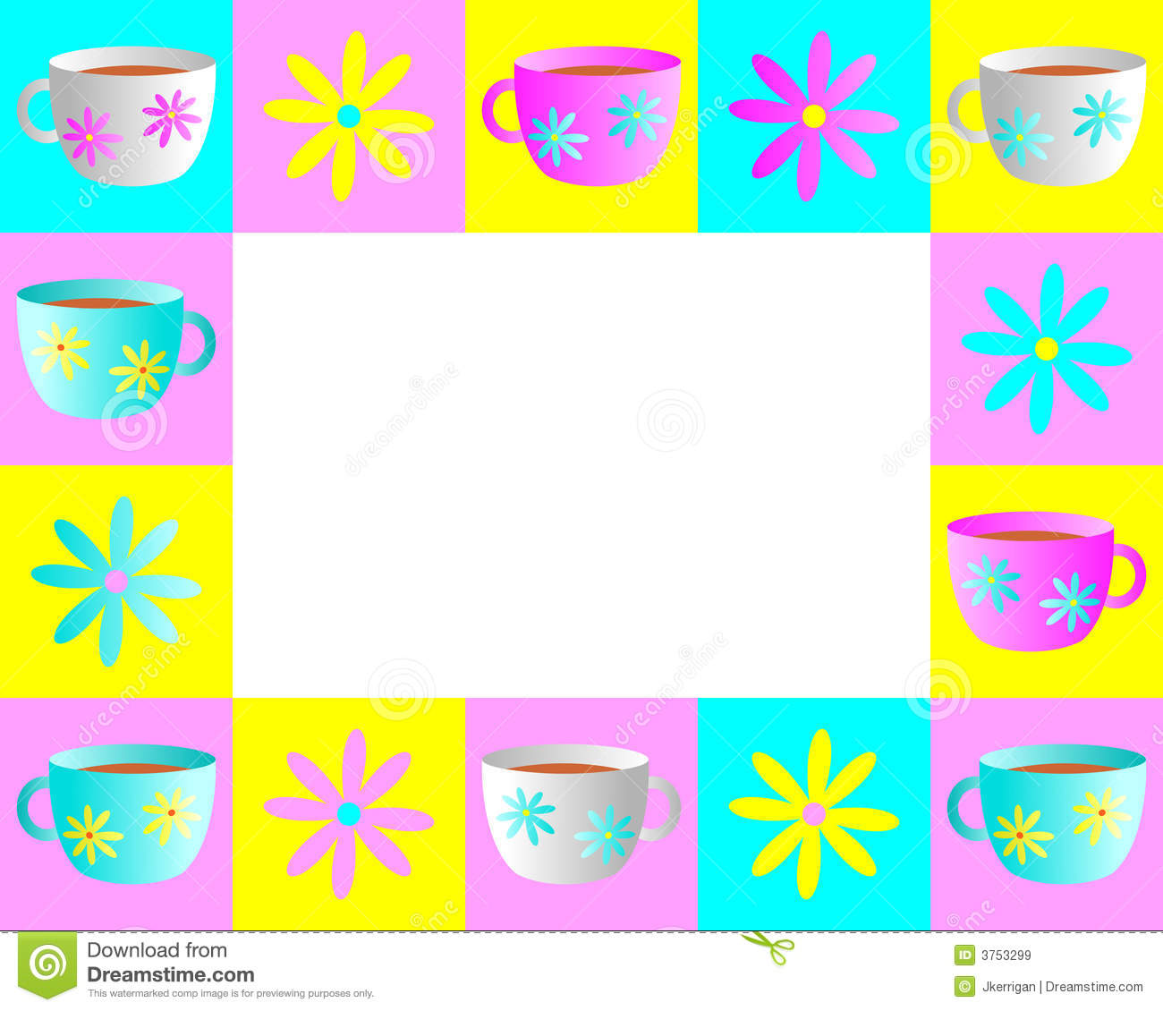 Illustrated frame of teacups and flowers in bright pastel colors.