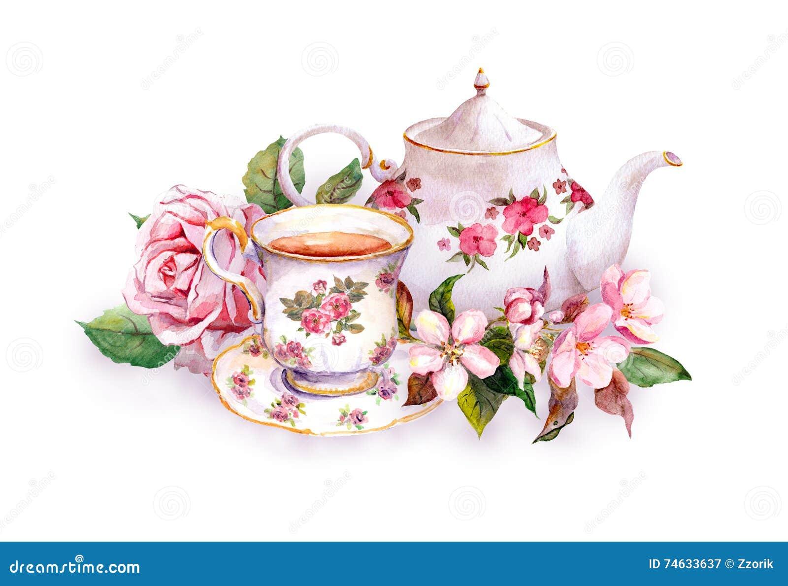 Teacup, herbaciany garnek, menchia kwiaty - wzrastał i czereśniowy okwitnięcie akwarela