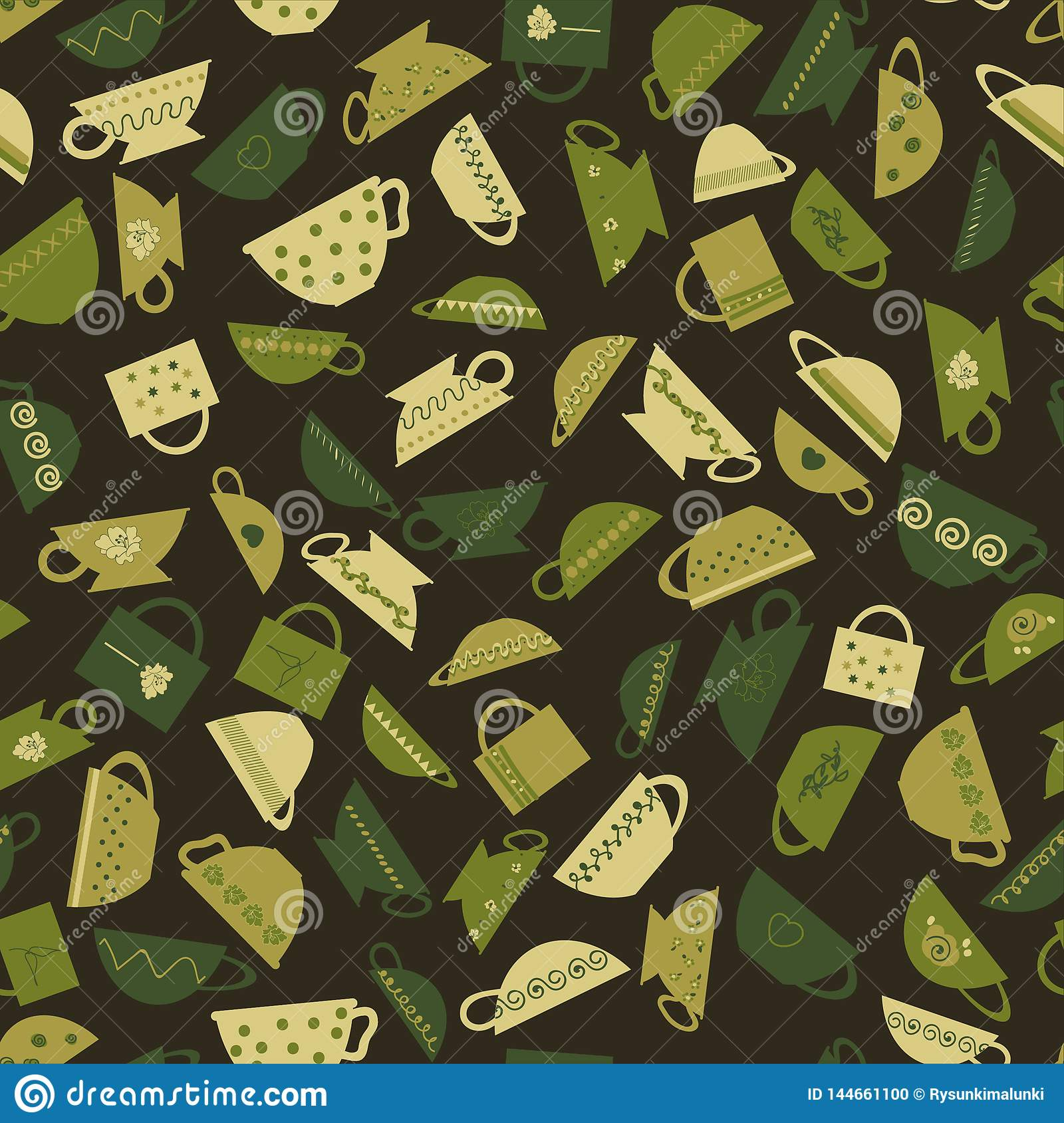 Seamless vector pattern with green teacups