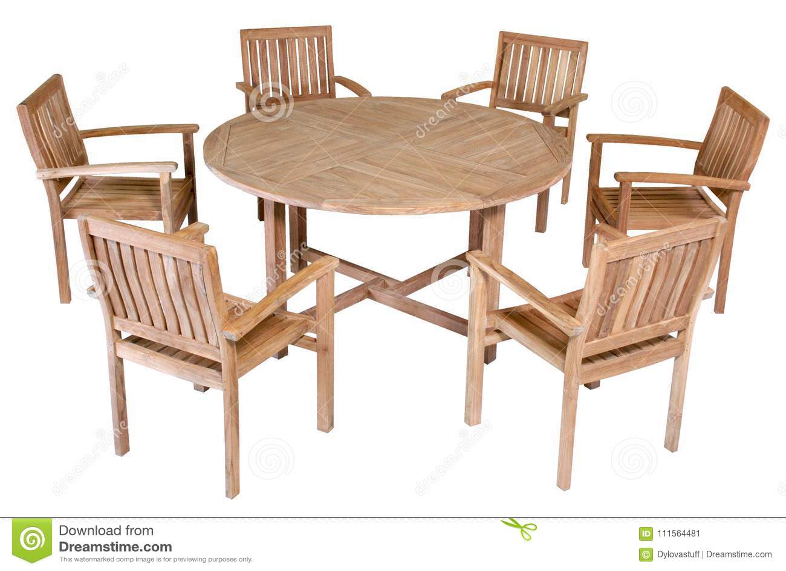 Chair With Round Table Teak Garden Furniture Garden Furniture Set Stock Image Image Of Armchairs Garden 111564481