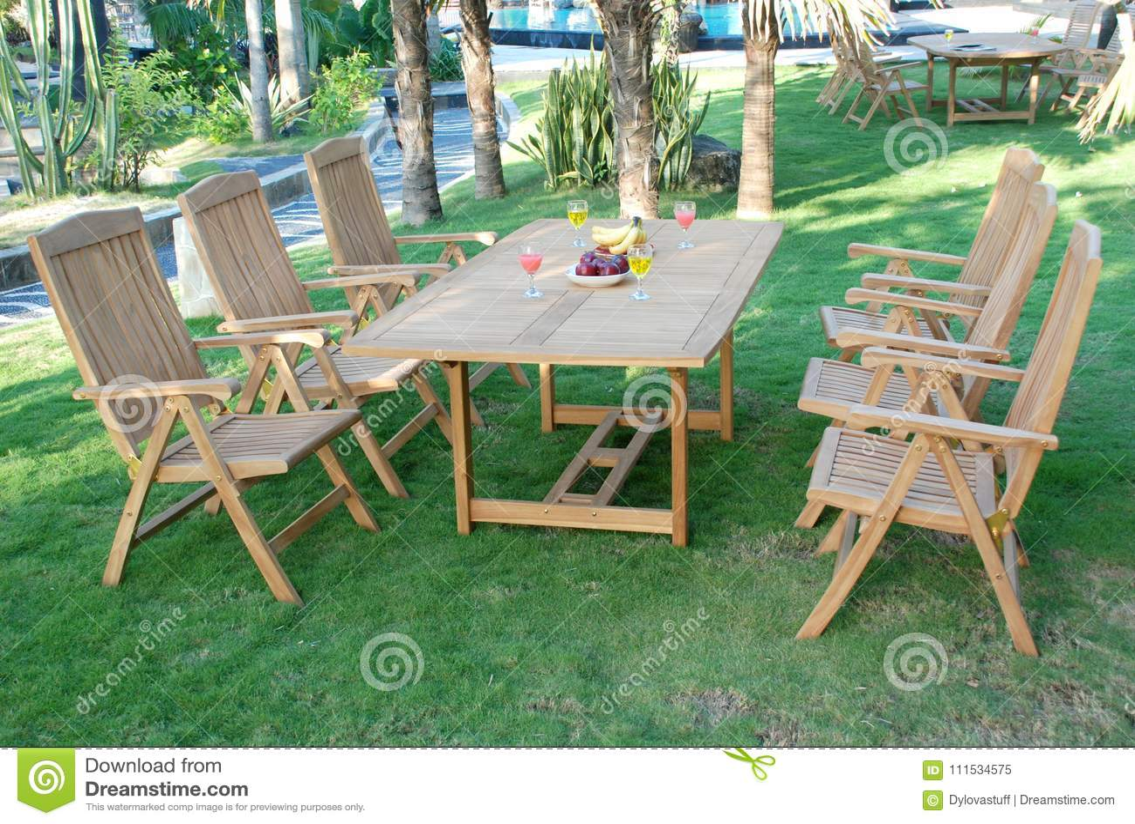 Awesome Teak Garden Furniture Out Door Teak Garden Stock Image Machost Co Dining Chair Design Ideas Machostcouk
