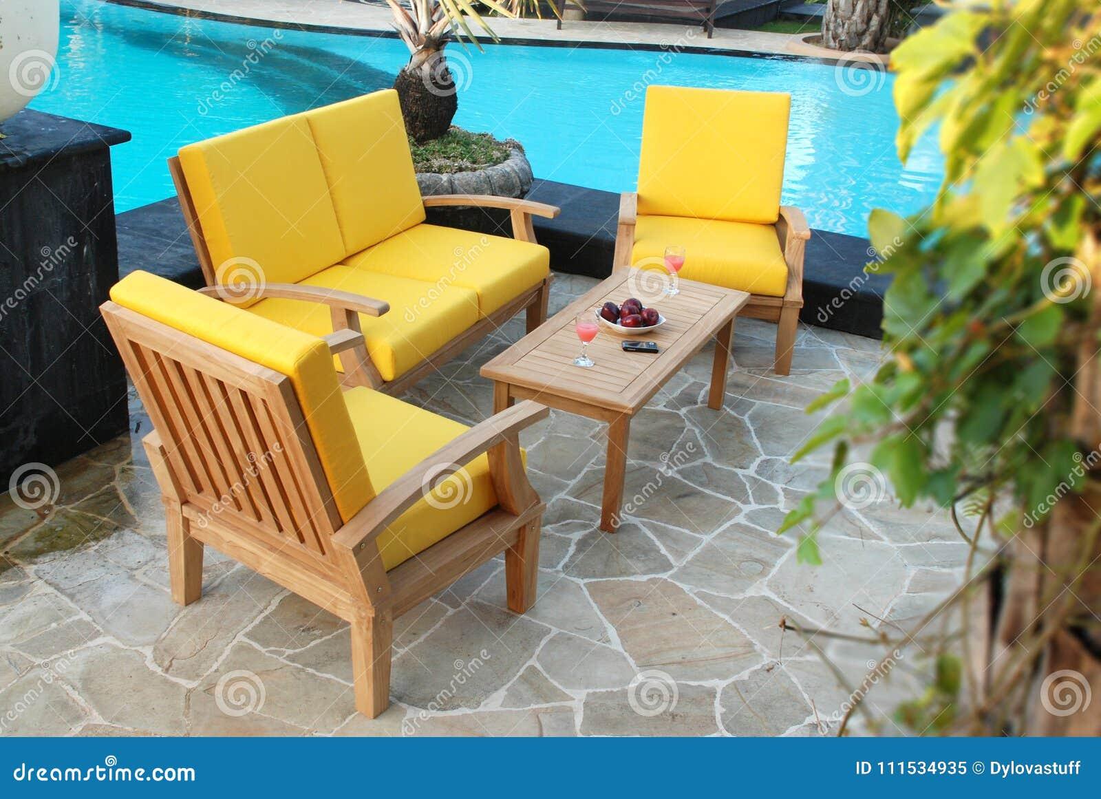 Teak Garden Furniture Out Door Teak Garden Stock Image