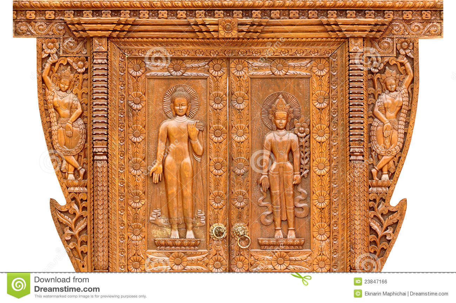 Teak wood carving door royalty free stock image