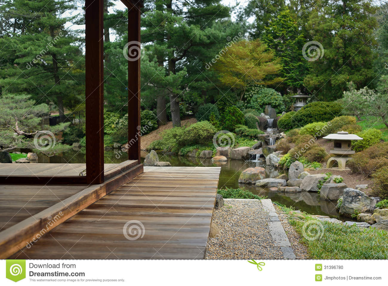 Teak wood deck or porch stock photo image 31396780 for Japanese decking garden