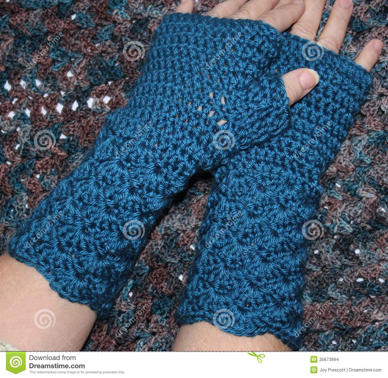 Teal Blue Crochet Fingerless Mitts Stock Photo Image Of Closeup