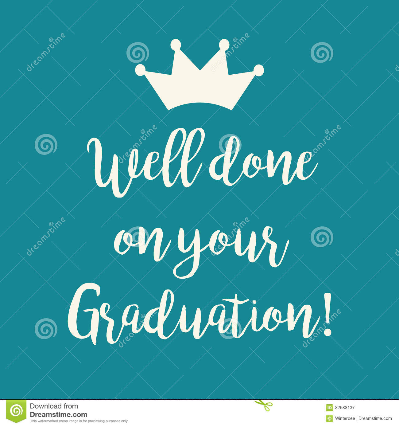 Teal Blue Well Done On Your Graduation Greeting Card Stock Vector