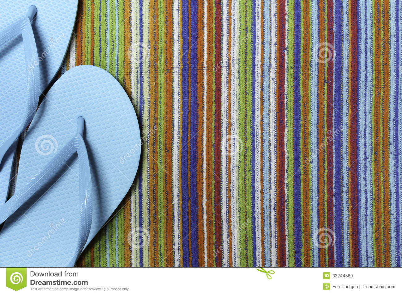 Teal Flip Flops and Colorful Beach Towel