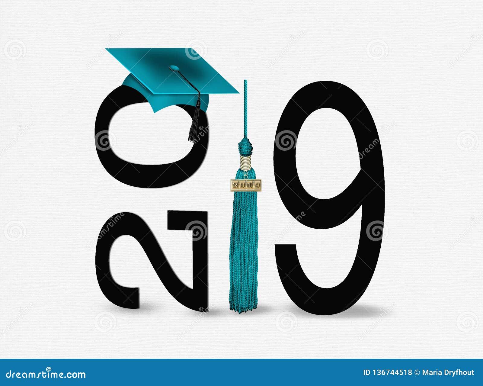 Graduation cap and tassel 2019 teal and black