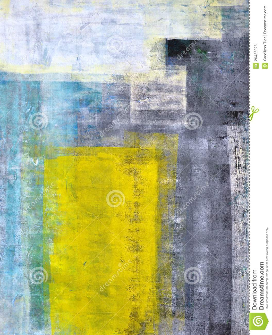 Teal grey and yellow abstract art painting royalty free stock
