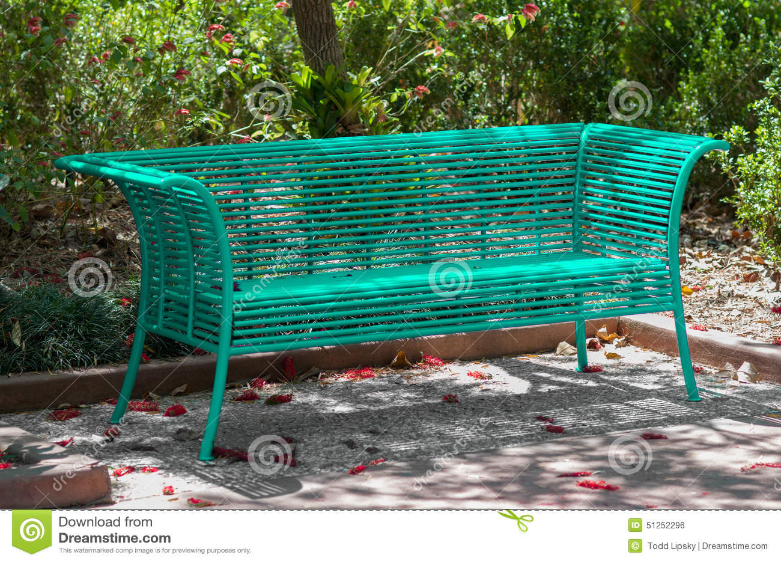 Teal Park Bench