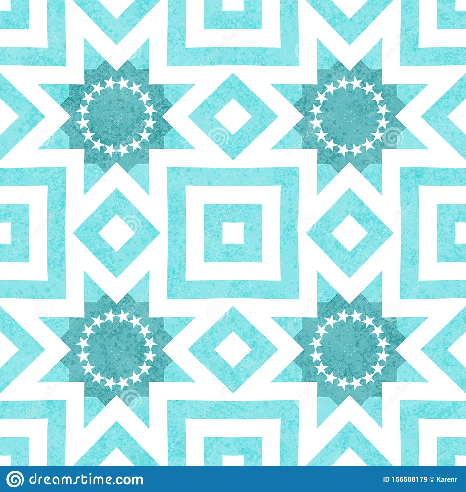 Teal and white burst abstract geometric seamless textured pattern background