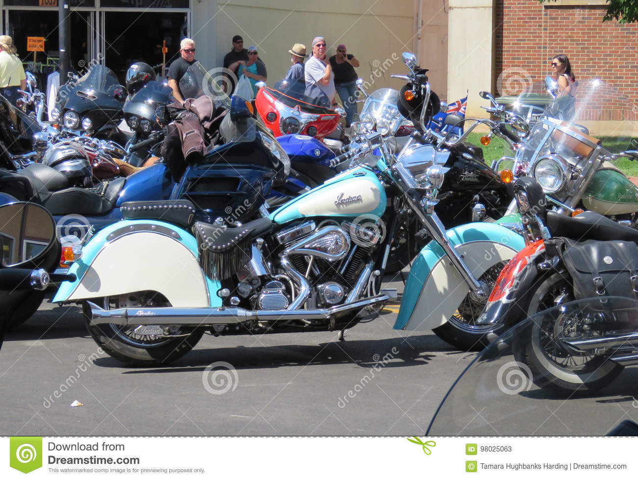 Download Teal And White Indian Motorcycle At Sturgis SD Rally Editorial Stock Photo
