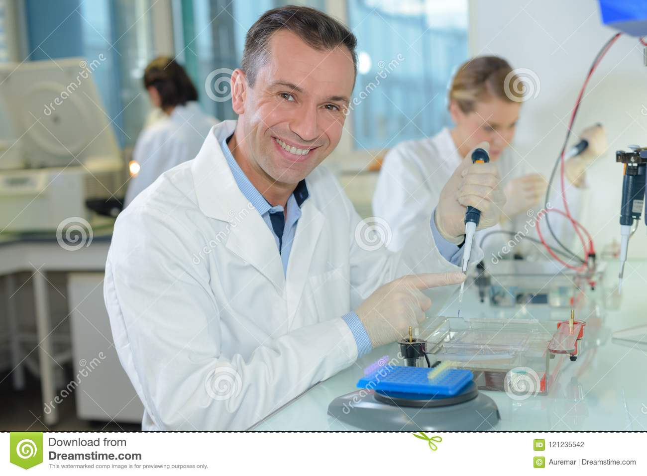 team of biological technician stock photo