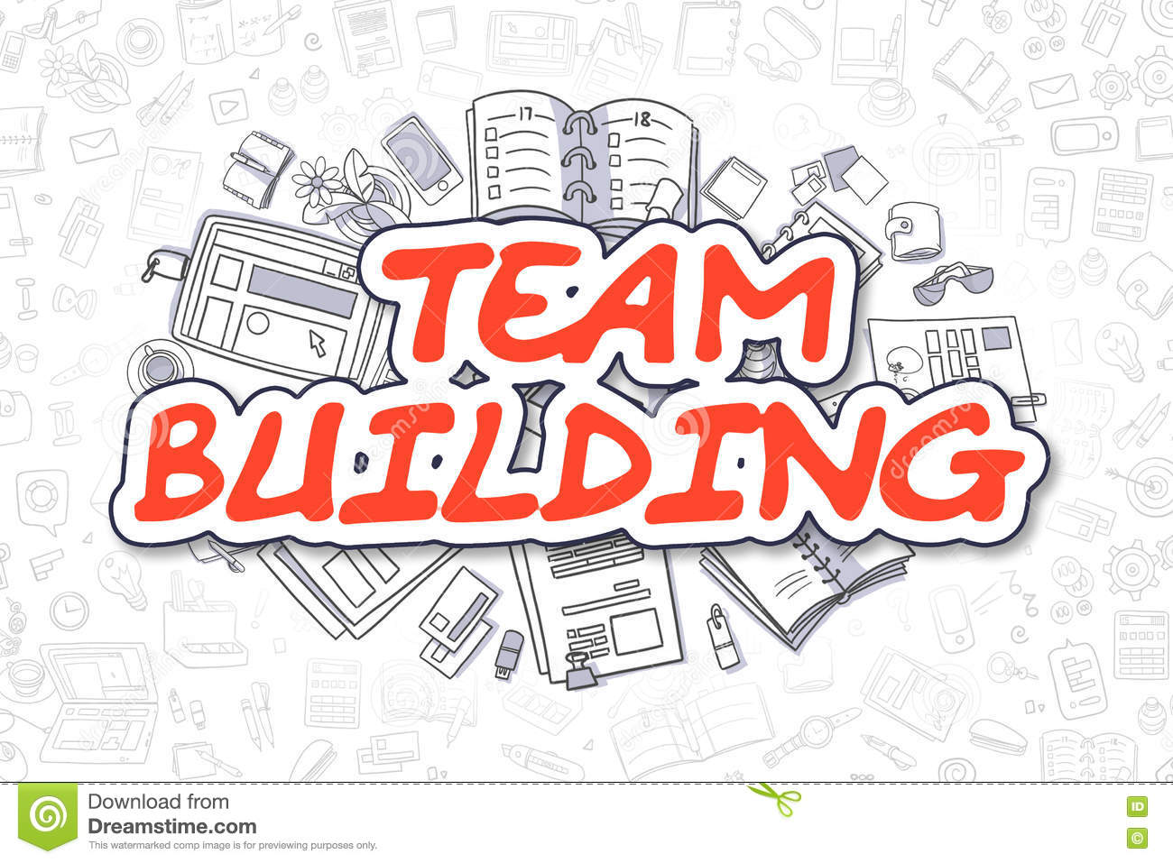 team building cartoon red text business concept
