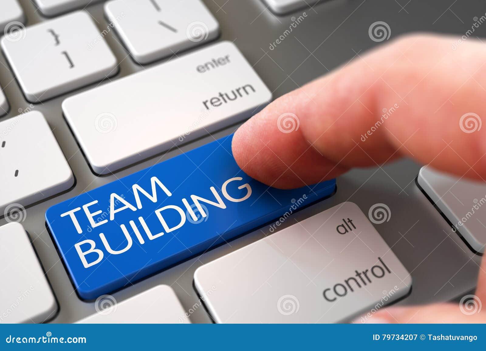 Team Building - concepto del teclado de ordenador 3d