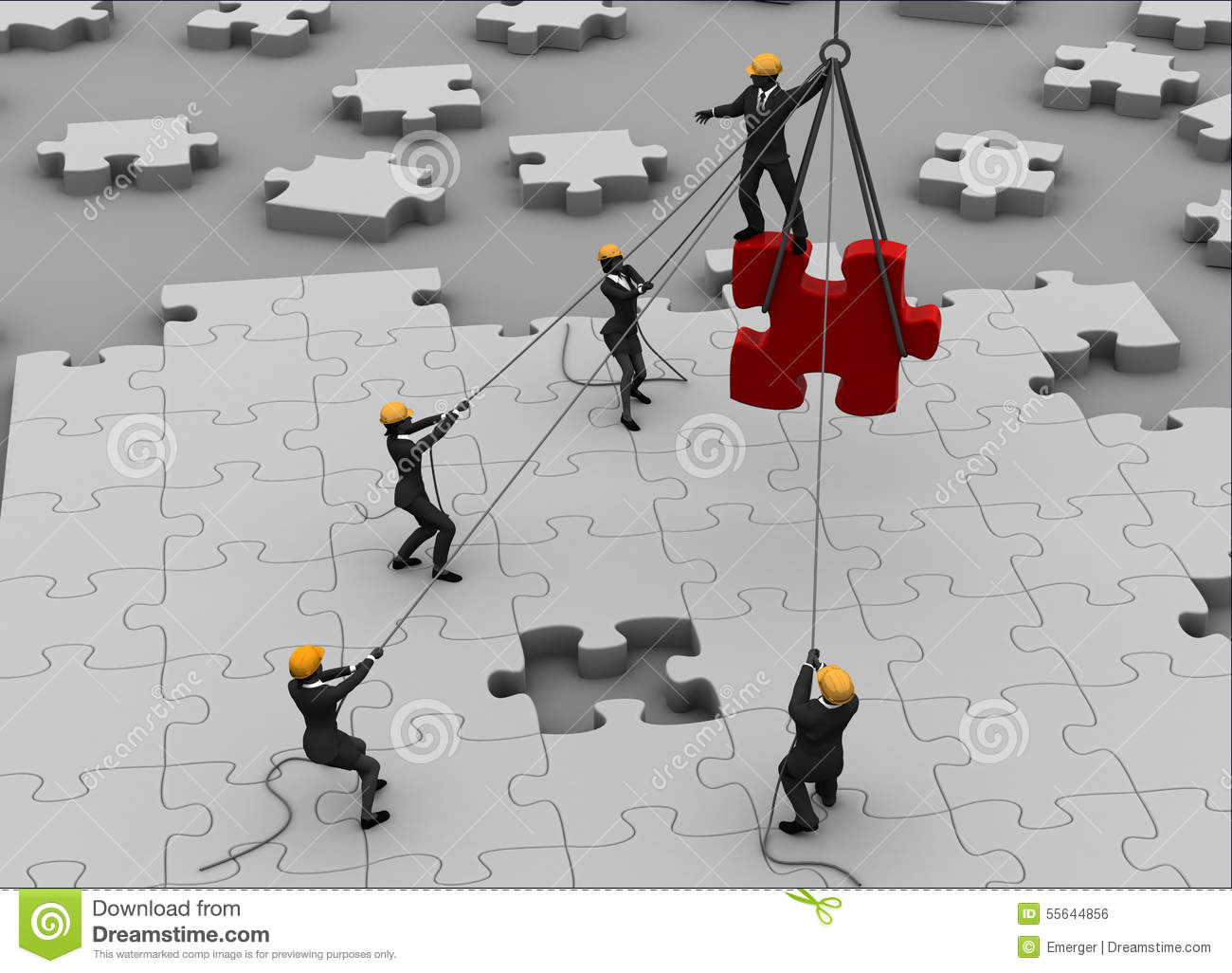 Team Building A Great Jigsaw Puzzle Stock Illustration - Image ...