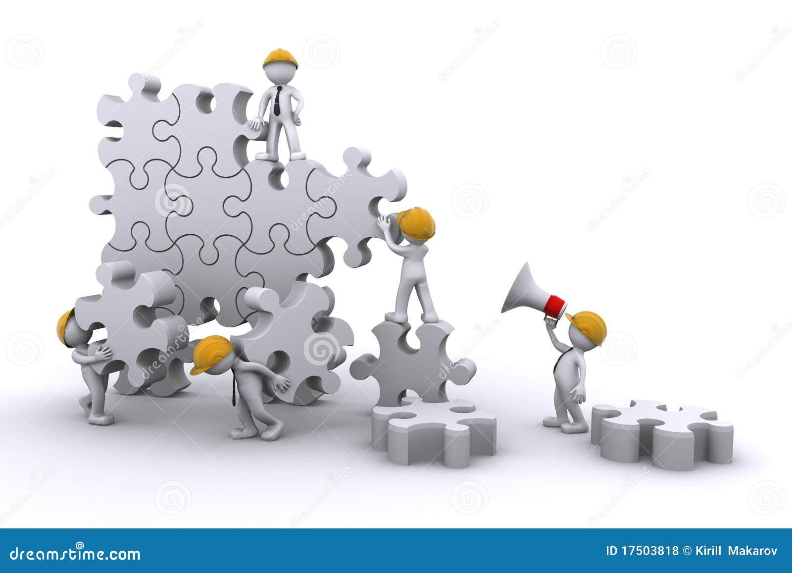 Team Building Clip Art Team building a puzzle.