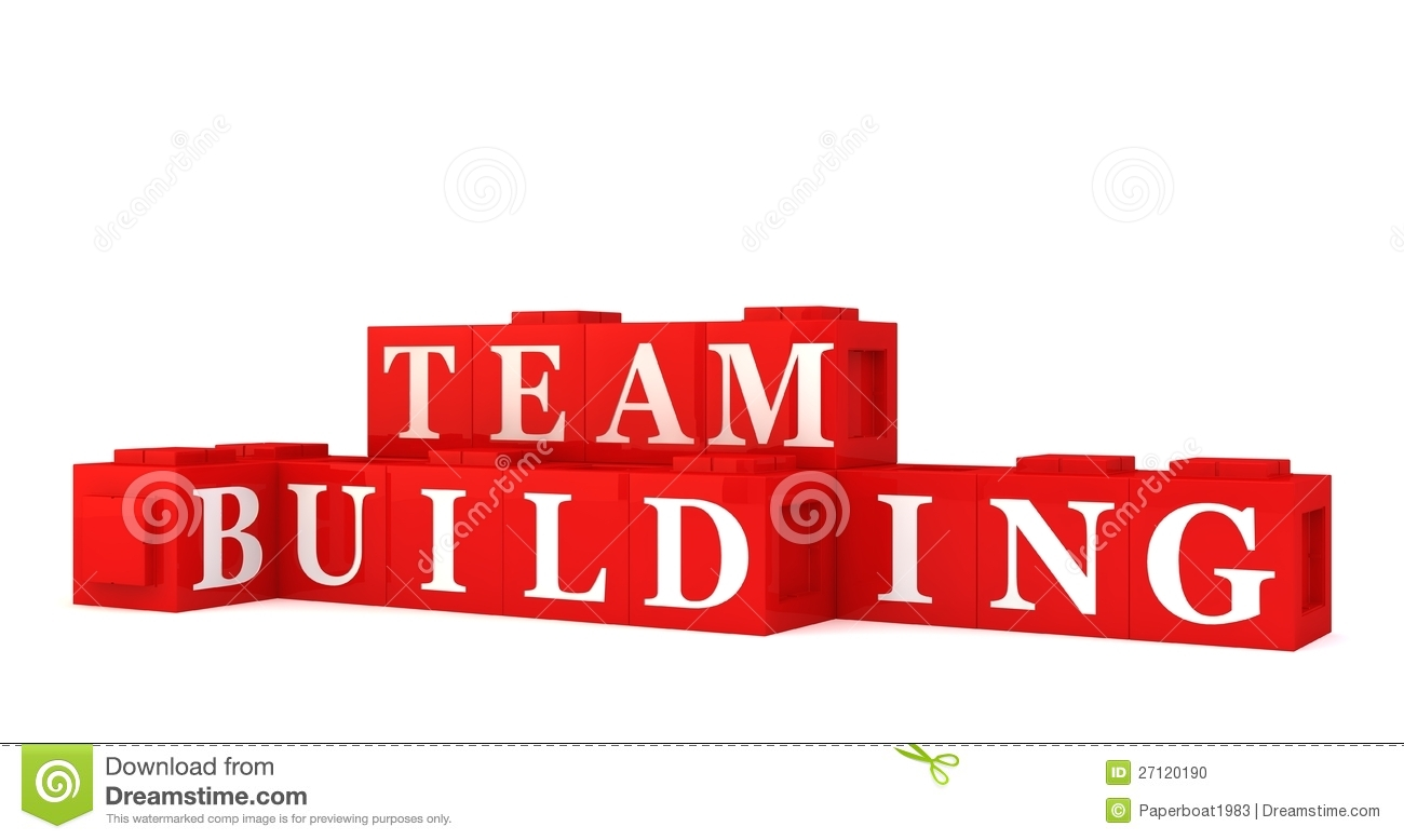 Red building blocks spelling out team building, white background.