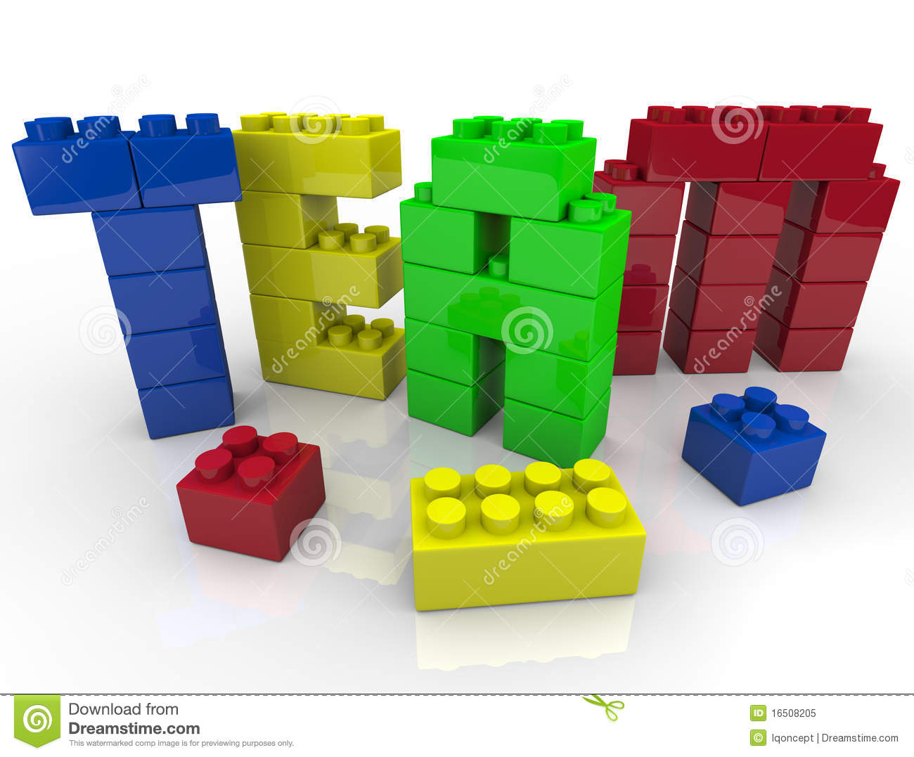 Teenagers Team Building Toys : Team building with toy blocks royalty free stock photo