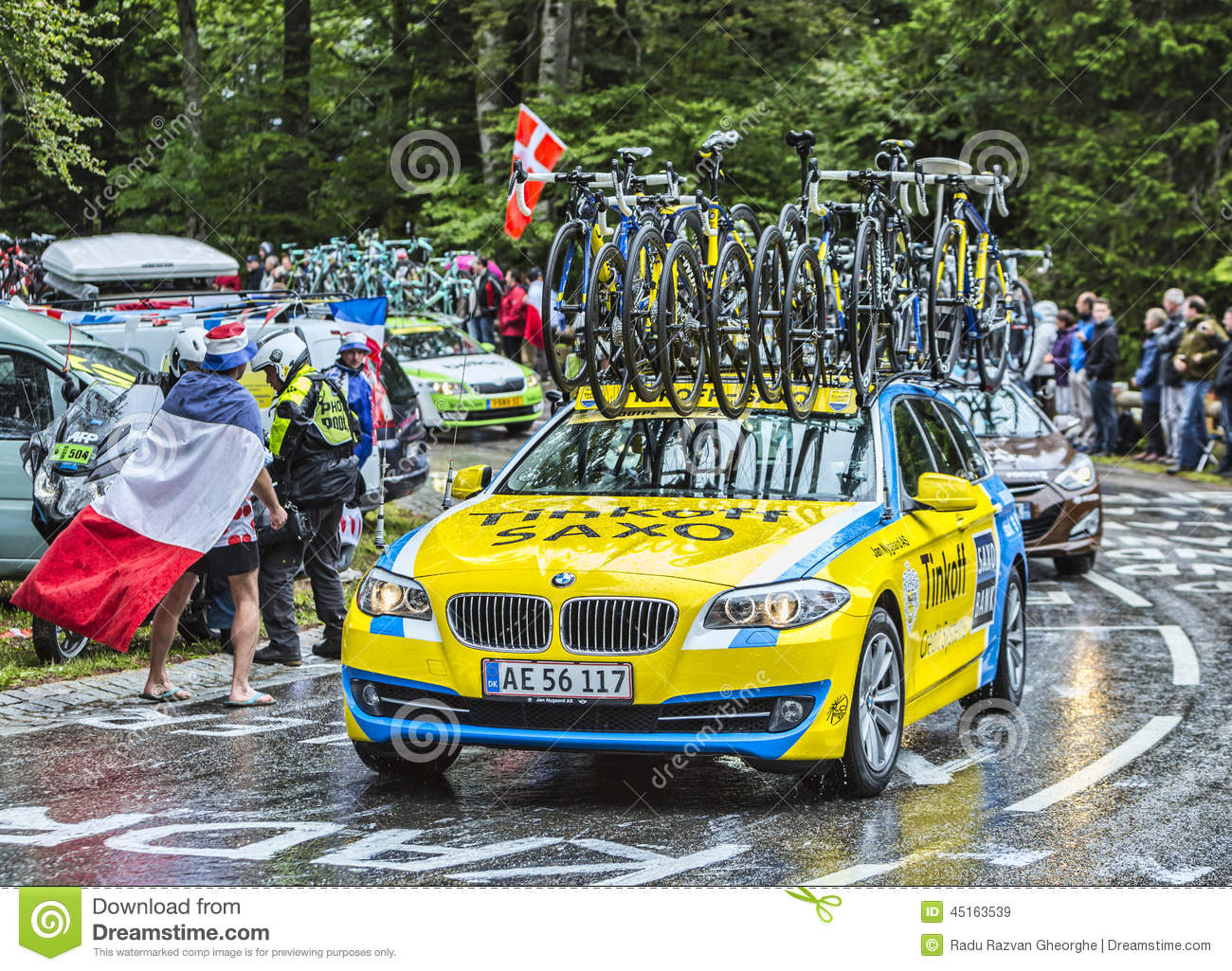 the team car of thinkoff saxo during le tour de france editorial stock image image 45163539. Black Bedroom Furniture Sets. Home Design Ideas