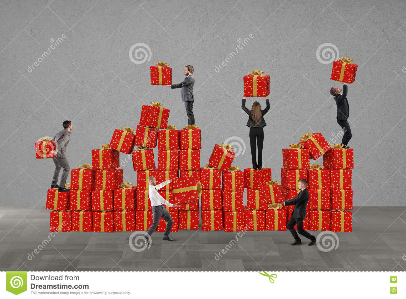 Team for Christmas gifts stock image. Image of package ...