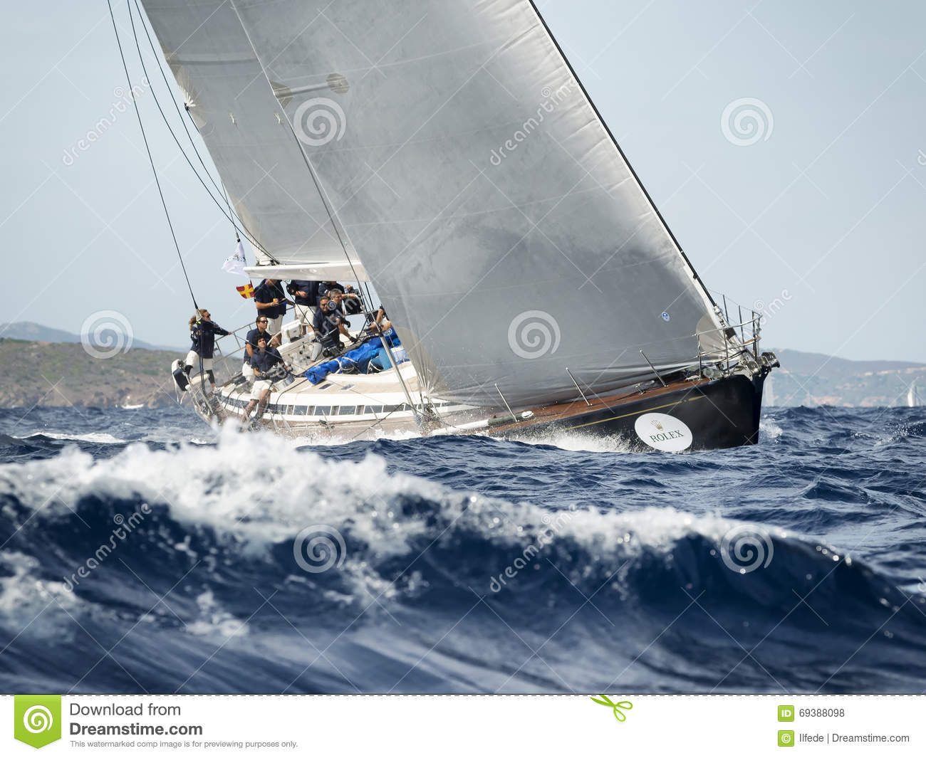 Team Competing On Maxi Yacht Rolex Cup Sail Boat Race In Sardinia Editorial Stock Photo - Image ...