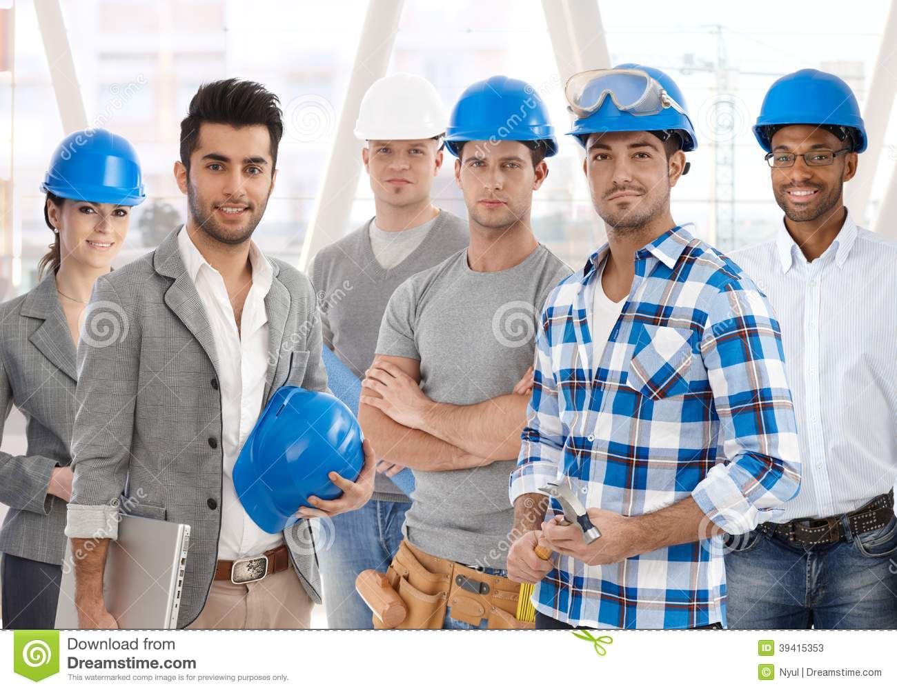 Team of diverse people from building industry