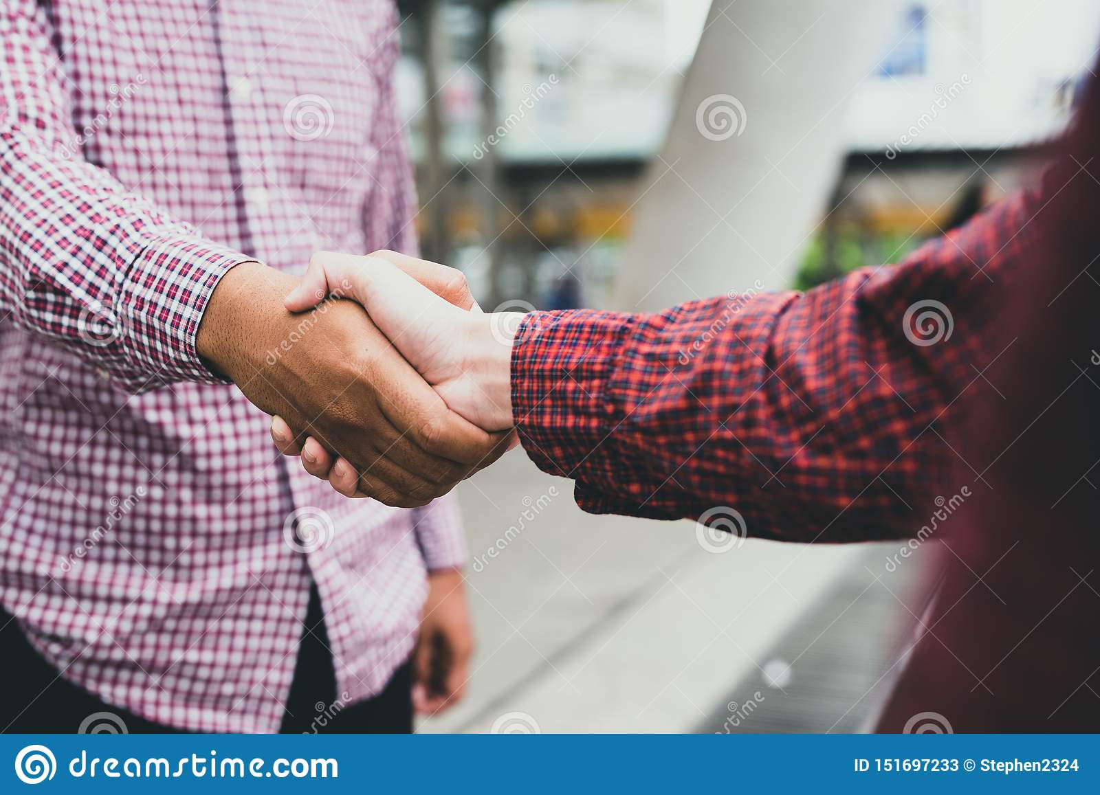 Business team greeting handshake. Image of good deal, success, dealing, greeting & business partner concept.