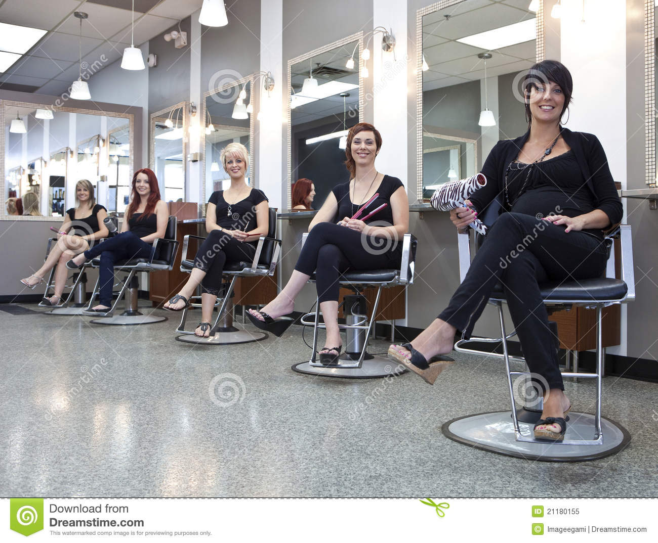 Team of hairdressers