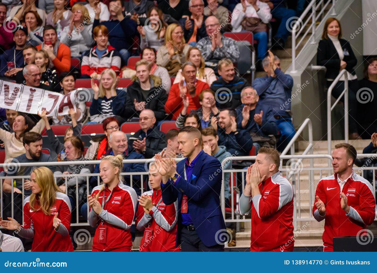 Team Latvia, durante juego redondo del grupo II del mundo de FEDCUP BNP Paribas el primer