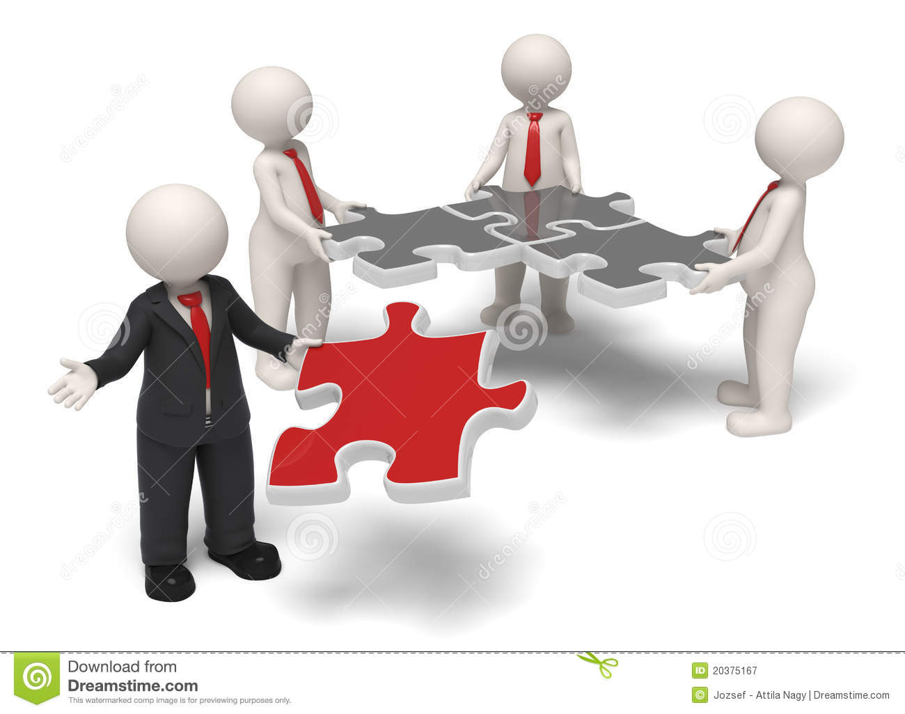Team Leader Finishing Puzzle Royalty Free Stock Photography - Image ...