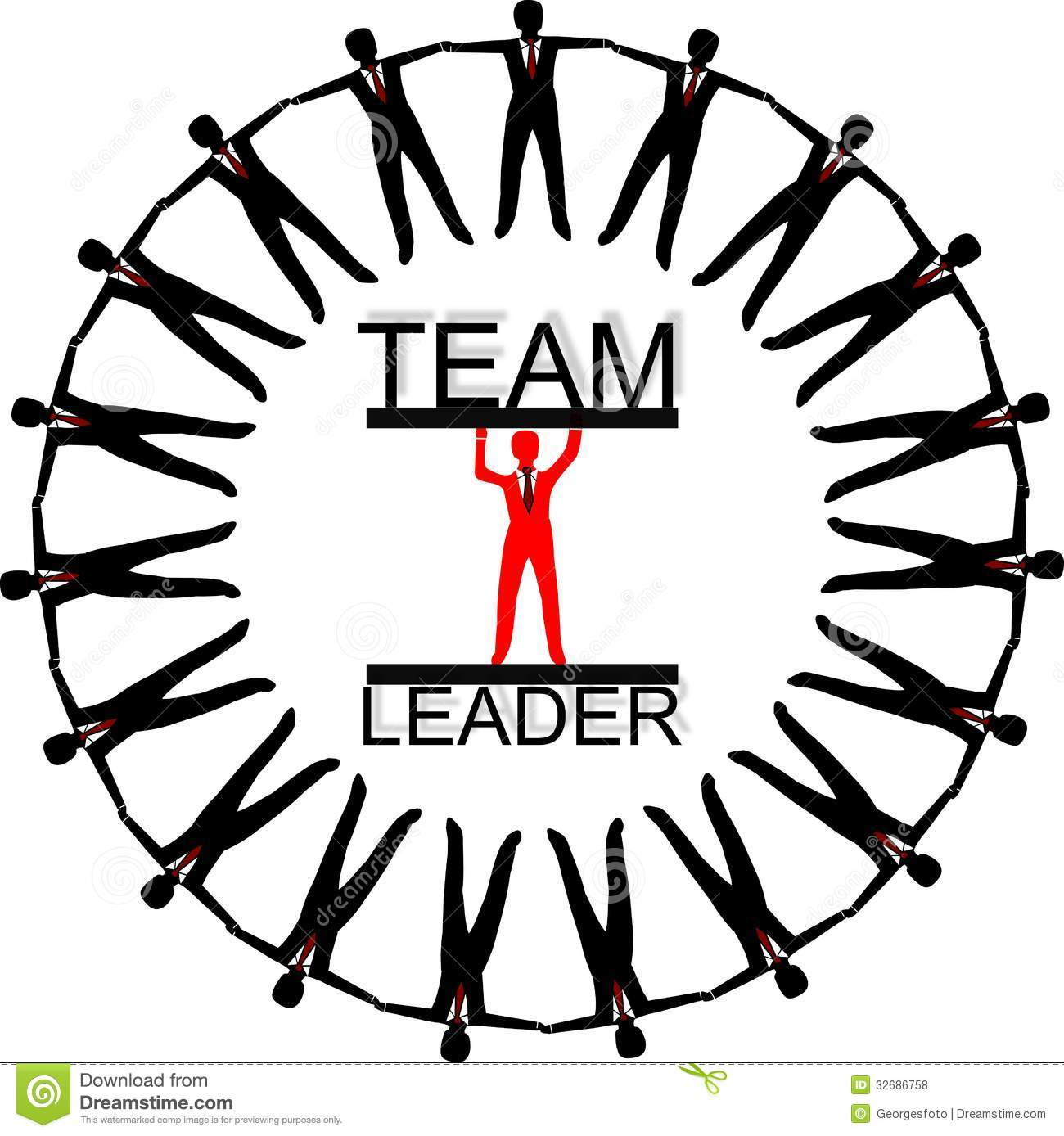 Illustration of Team leader wit his team around on the white ...