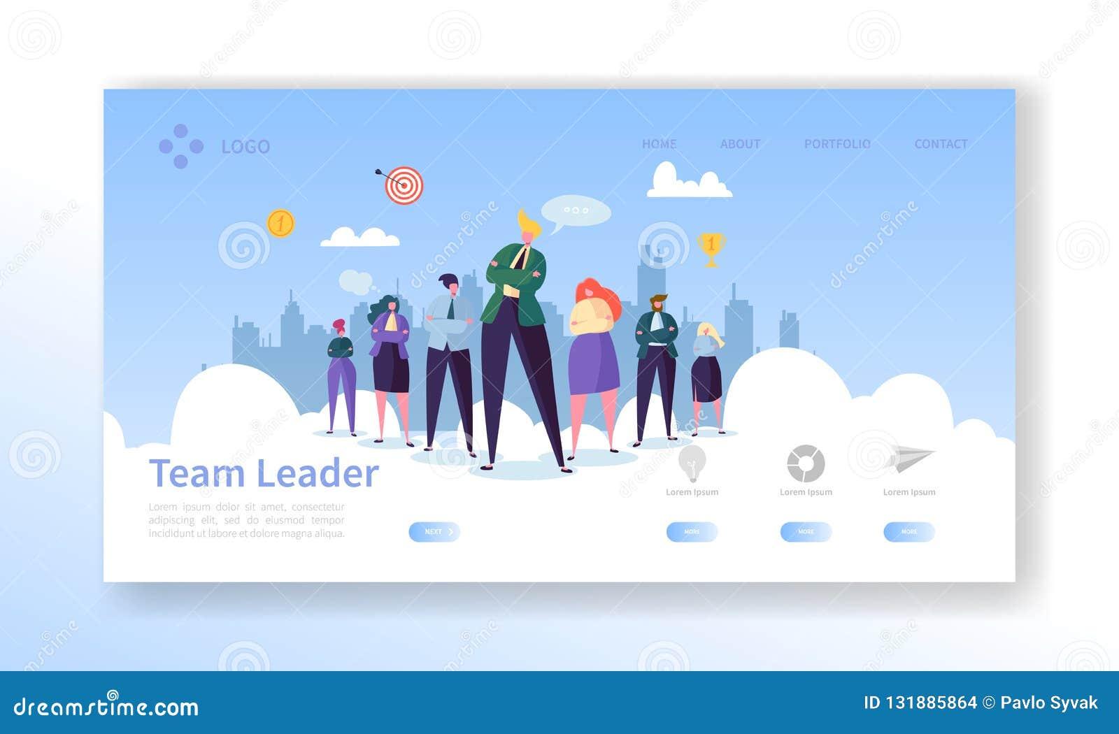 Team Leader Landing Page Ledarskapbegrepp med den plana mallen för Website för tecken för affärsfolk Lätt redigera