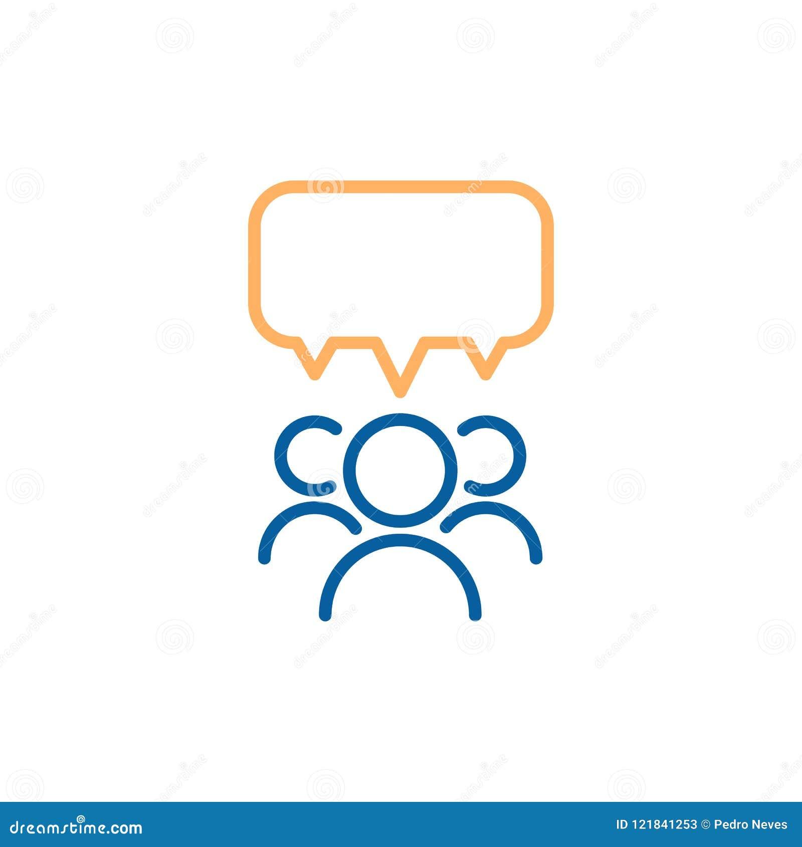 Team o grupo de pessoas que fala e que debate com uma bolha do discurso Linha fina ilustração do vetor do projeto do ícone