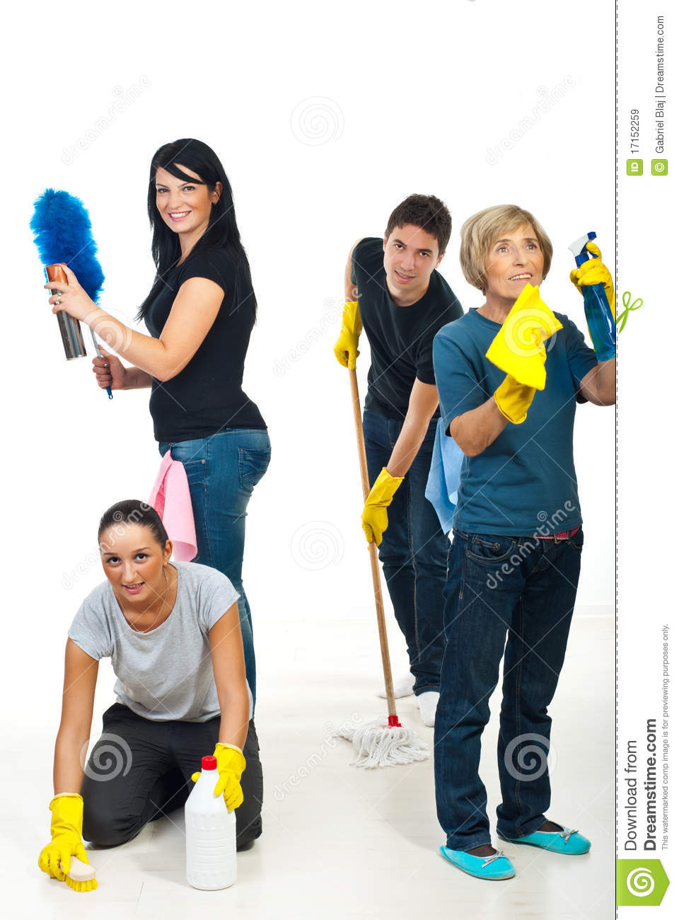 Team Of People Cleaning Your House Royalty Free Stock ...