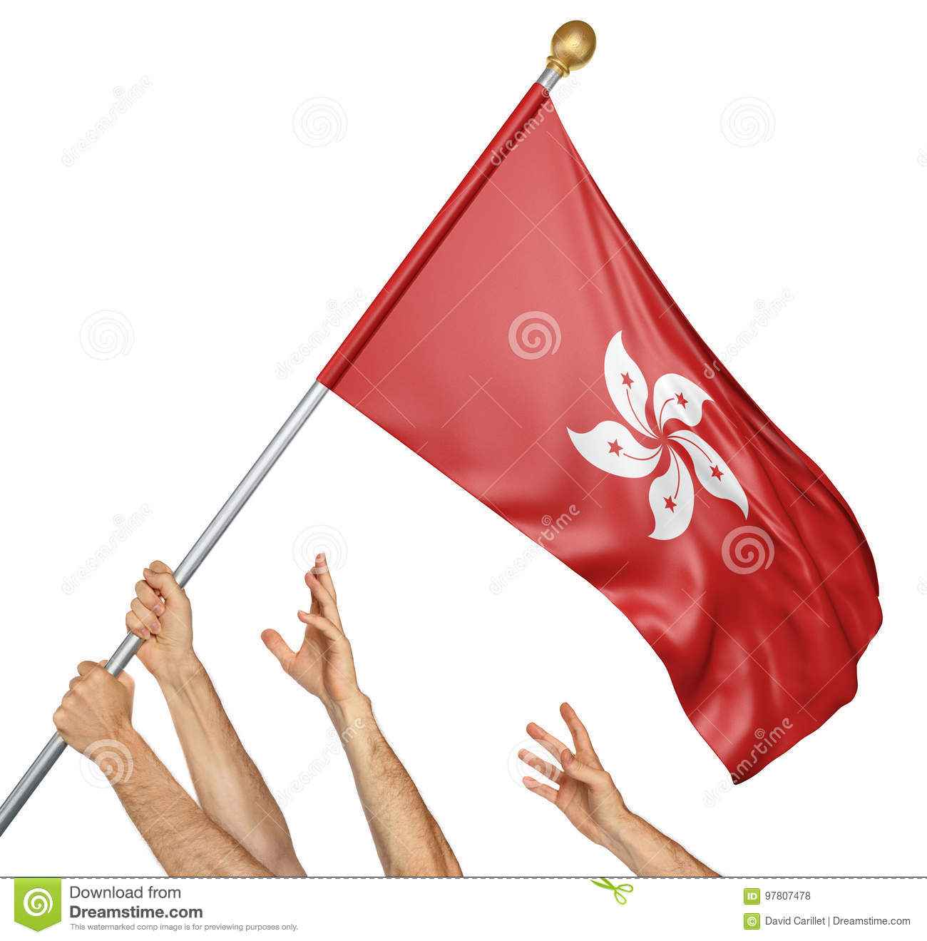Team of peoples hands raising the Hong Kong national flag