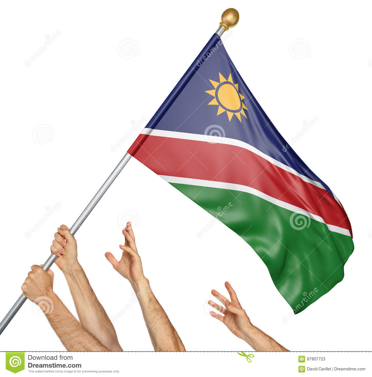 Team of peoples hands raising the Namibia national flag
