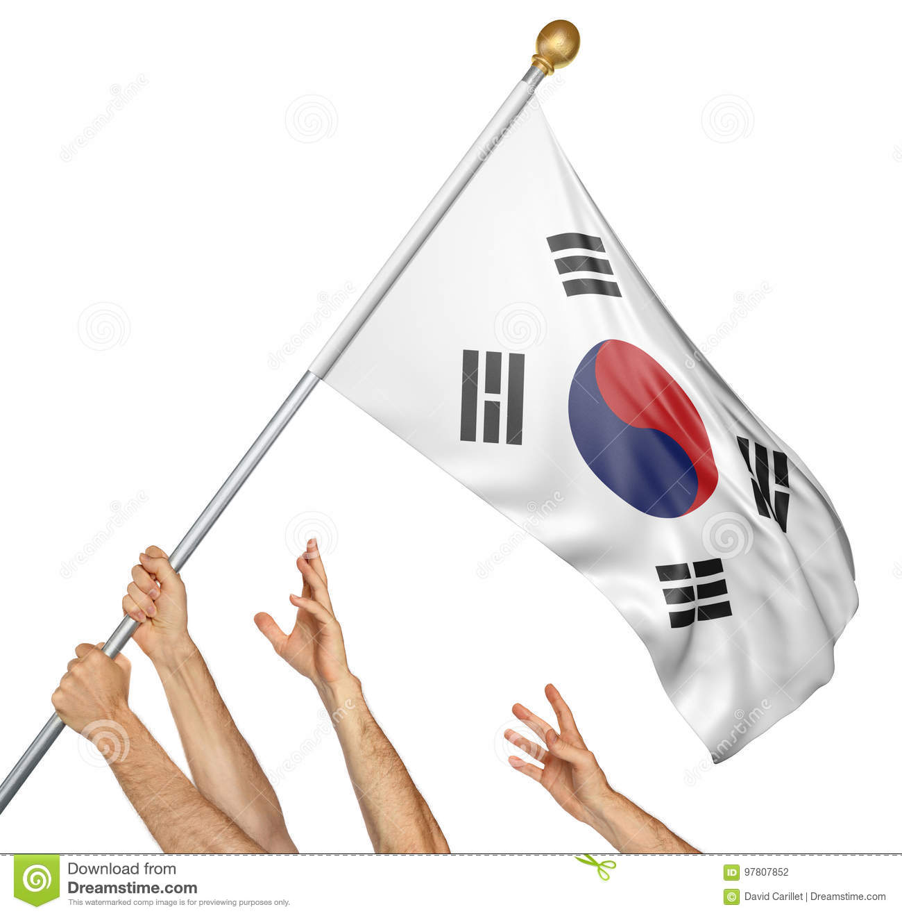 Team of peoples hands raising the South Korea national flag