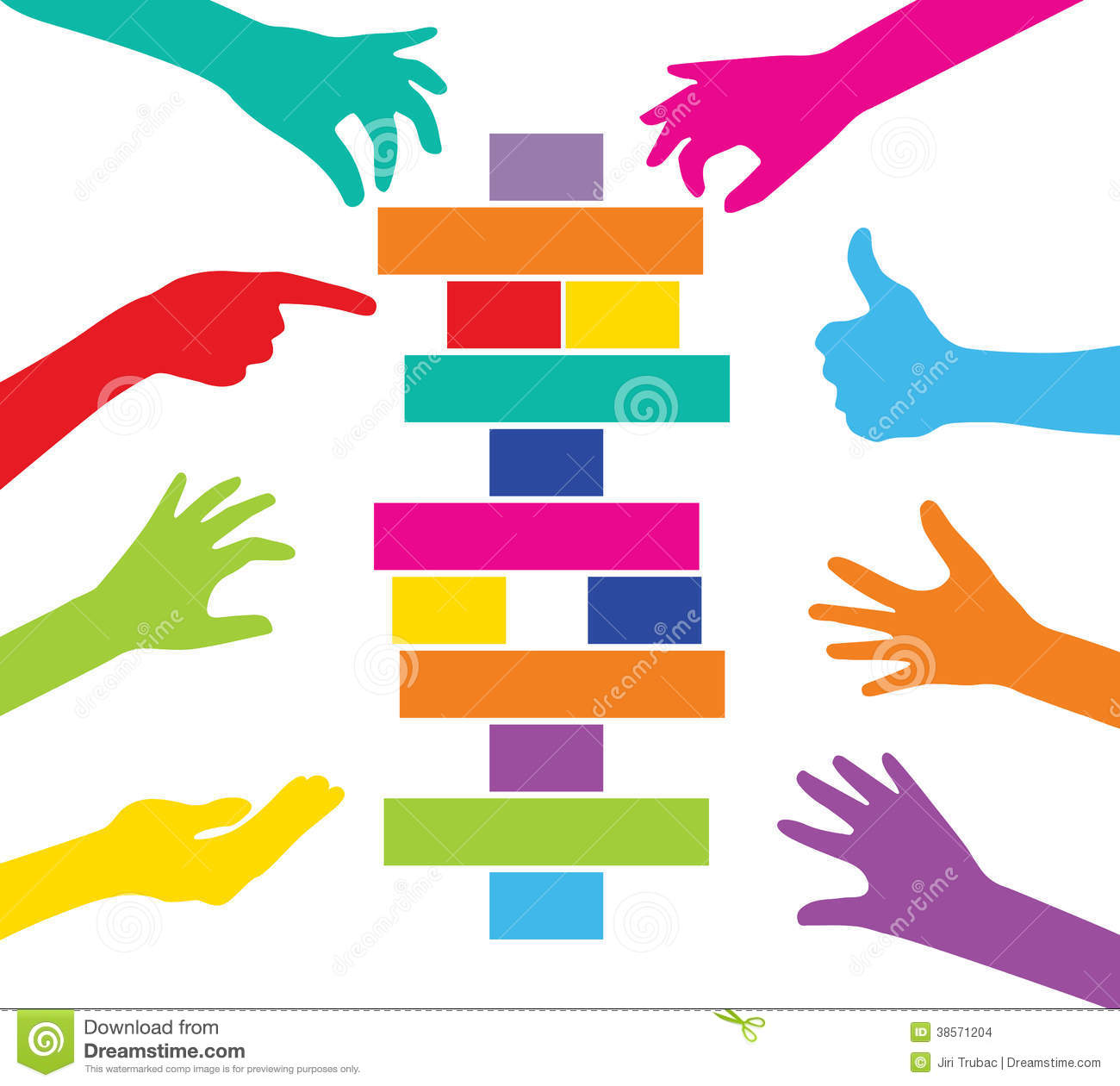 Team Play With Colorful Pieces Construction Stock Images