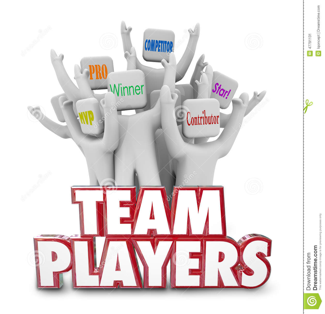 Team Players People Workers Staff que trabalha junto vencedores Succe