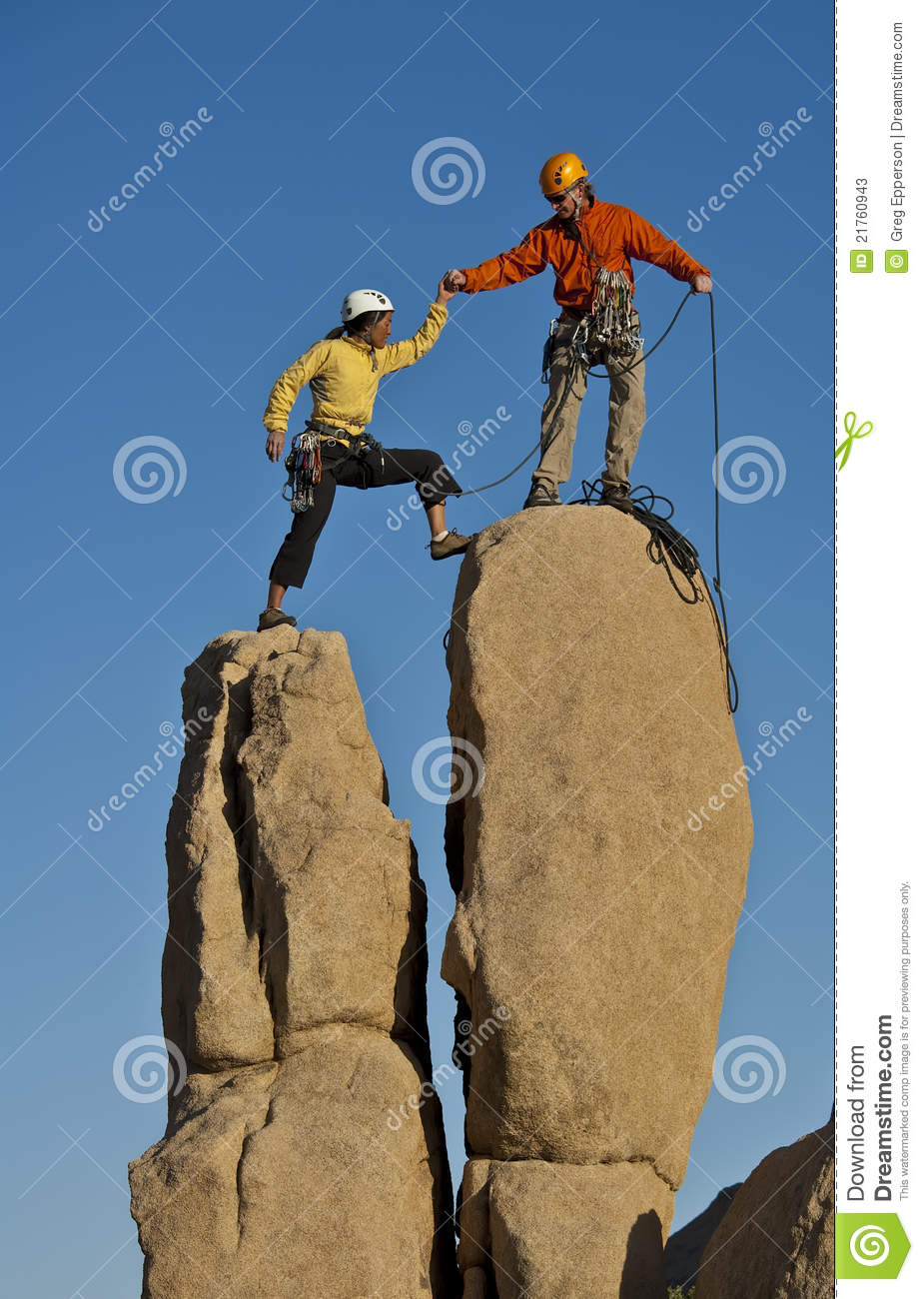 team of rock climbers  stock photos