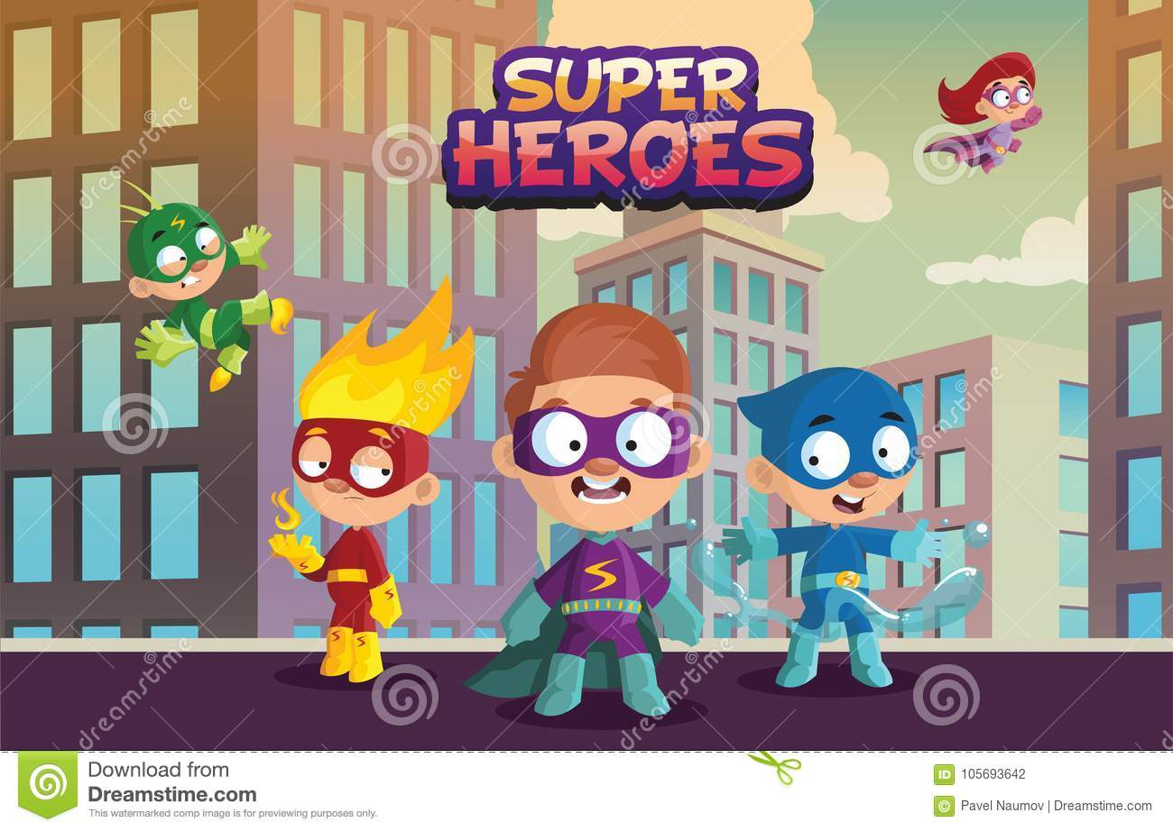 Team of super hero kids, funny boys and girls characters in colorful superhero costumes cartoon vector Illustration on