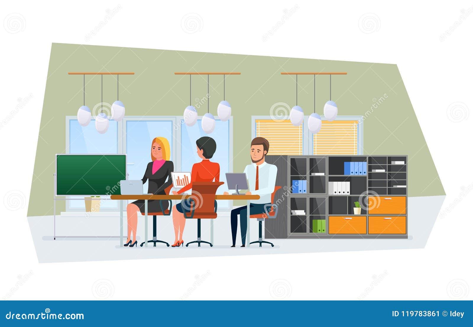 Team, trabalhando colegas, sócios, trabalhos de equipa O espaço de escritórios interior com mobília