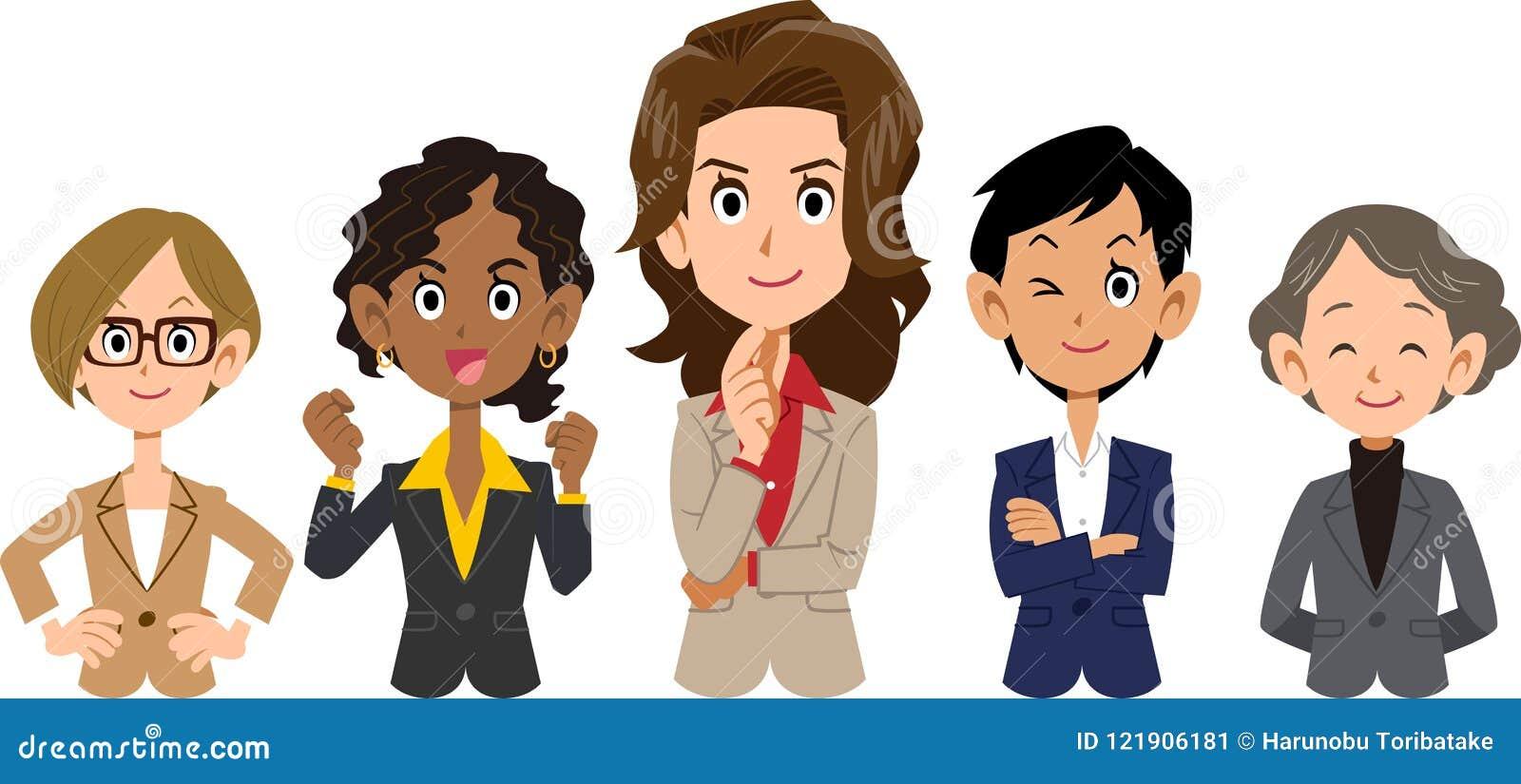 Team van divers rassen bedrijfs _vrouwen _hoger lichaam